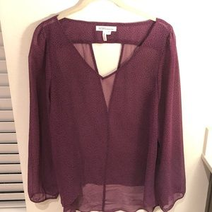 BCBG Generation Top Sheer Purple with Black Dots